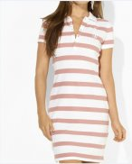 Ralph Lauren Femme Pony Polo Stripe Robes Blanc Rosa