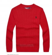 Ralph Lauren Homme Pull Round Neck Mesh Polo Rouge