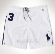 Ralph Lauren Homme Shorts Lacing Pony Polo 3 Blanc Bleu Acier