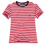 Ralph Lauren Enfant Mesh Polo T-shirt Stripe Rouge