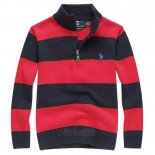 Ralph Lauren Enfant Pull Mesh Polo Half Zip Stripe Rouge2