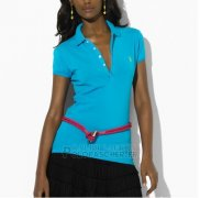 Ralph Lauren Femme Featured Notch Mesh Polo Manche Courte Bleu