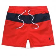 Ralph Lauren Homme Shorts Lacing Mesh Polo Stripe Rouge