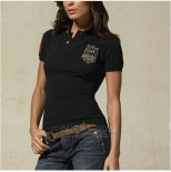 Ralph Lauren Femme Custom Fit Multi Crested Match Polo Noir