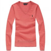 Ralph Lauren Femme Pull V Collar Watermelon Rouge