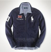 Ralph Lauren Homme Vestes Great Britain Pony Polo Full Zip Bleu Acier