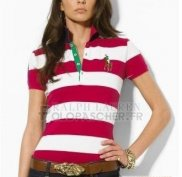 Ralph Lauren Femme Pony Polo Stripe Polo Blanc Rose