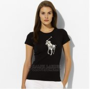 Ralph Lauren Femme Slim Fit Pony Polo T-shirt Bleu Acier