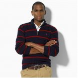 Ralph Lauren Homme 8028 Pull With Half Zip Raya Noir Rouge
