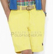 Ralph Lauren Homme Casual Short Pants Belt Pocket Pony Polo Jaune