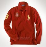 Ralph Lauren Homme Polo Manches Longues Pony Polo Rouge