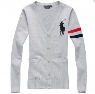 Ralph Lauren Femme Pony Polo Custom Fit Pull Gris Rouge Noir
