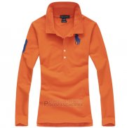 Ralph Lauren Femme Pony Polo Manches Longues Orange
