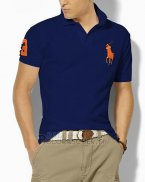 Ralph Lauren Homme Classic Fit Pony Polo Orange Logo Bleu Acier