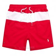 Ralph Lauren Homme Shorts Lacing Mesh Polo Stripe Rouge Blanc
