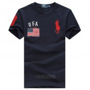 Ralph Lauren Homme T-shirt Pony Polo Usa Flag Bleu Acier