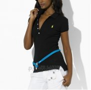 Ralph Lauren Femme Featured Notch Mesh Polo Manche Courte Noir