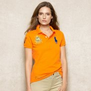 Ralph Lauren Femme Pony Polo Crested Polo Orange Bleu