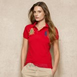 Ralph Lauren Femme Pony Polo Crested Polo Rouge Bleu