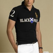 Ralph Lauren Homme Black Watch Polo Team Manche Courte Crest Or Noir