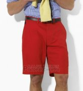 Ralph Lauren Homme Casual Short Pants Belt Pocket Pony Polo Rouge