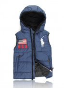 Ralph Lauren Homme Gilet Matelasse Hooded Pony Polo Flag Usa Bleu