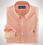 Ralph Lauren Homme Largo Chemise Colorful Mesh Polo Grid Orange