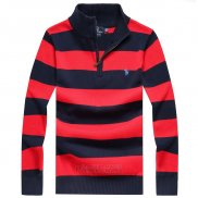 Ralph Lauren Homme Pull With Half Zipper Stripe Rouge