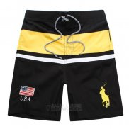 Ralph Lauren Homme Shorts Lacing Pony Polo Stripe Usa Noir Jaune