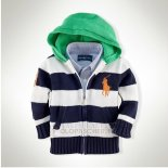 Ralph Lauren Enfant Pull Pony Polo Hooded Zip Stripe Blanc Bleu1
