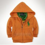 Ralph Lauren Enfant Sweatshirts Pony Polo Zip Orange Vert