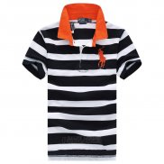 Ralph Lauren Homme Pony Polo Stripe Polo Orange Noir Blanc