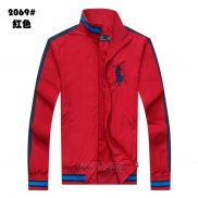 Ralph Lauren Homme Vestes Zip Collar Pony Polo Stripe Rouge
