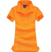 Ralph Lauren Femme Mesh Polo Manche Courte Orange