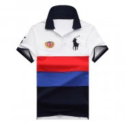 Ralph Lauren Homme 1802 Stripe Polo Flag USA Blanc