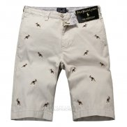 Ralph Lauren Homme Casual Short Pants Belt Dogs Pattern Clair Kaki