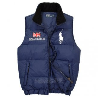 Ralph Lauren Homme Gilet Matelasse Pony Polo Flag Great Britain Bleu Acier