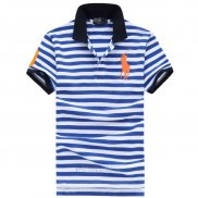 Ralph Lauren Homme Pony Polo Stripe Polo Bleu Orange