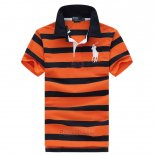 Ralph Lauren Homme Pony Polo Stripe Polo Orange Bleu Acier Blanc
