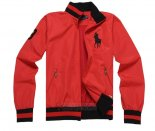 Ralph Lauren Homme Vestes Zip Collar Pony Polo Stripe Rouge Noir