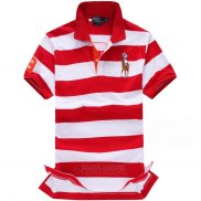 Ralph Lauren Homme Classic Fit Stripe Polo Rouge Blanc