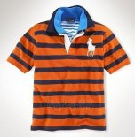 Ralph Lauren Homme Pony Polo Stripe Polo Orange Bleu Acier