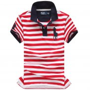 Ralph Lauren Homme Pony Polo Stripe Polo Rouge Blanc