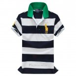 Ralph Lauren Homme Stripe Polo Noir Blanc Or