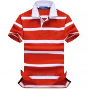 Ralph Lauren Homme Stripe Polo Orange Blanc