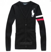 Ralph Lauren Femme Pony Polo Custom Fit Pull Noir Blanc Rouge