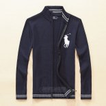 Ralph Lauren Homme 8026 Pull With Full Zipper Blanc Bleu Sombre