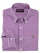 Ralph Lauren Homme Largo Chemise Colorful Mesh Polo Grid Purpura