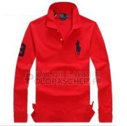 Ralph Lauren Homme Pony Polo Manches Longues Rouge