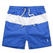 Ralph Lauren Homme Shorts Lacing Mesh Polo Stripe Bleu Blanc